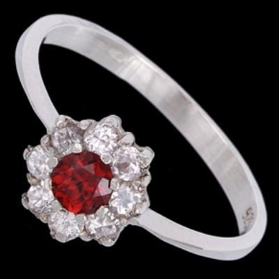Obrázek Prsten stříbrný, zirkon, granát